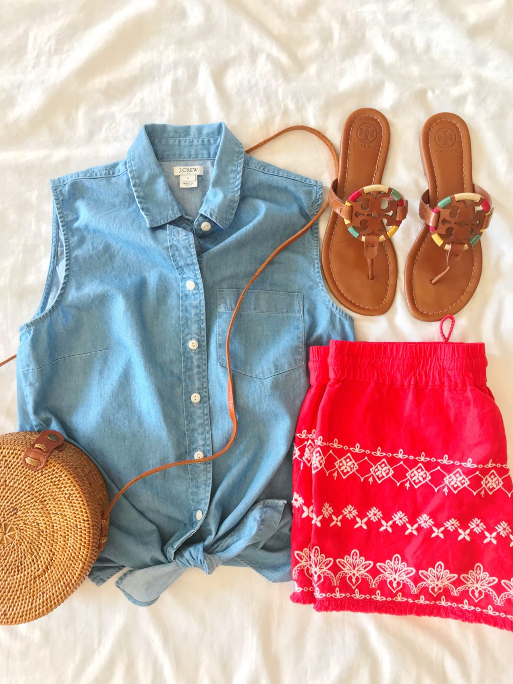 chambray tank and red embroidered shorts for the fourth of july