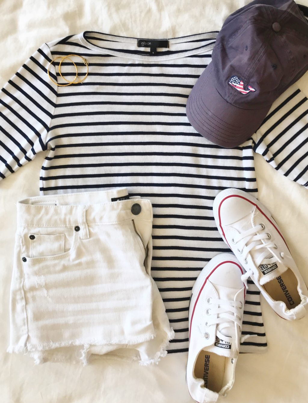 navy breton stripe shirt outfit idea for the fourth of july