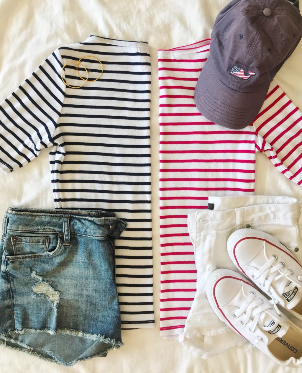 striped breton shirt outfit idea for the fourth of july