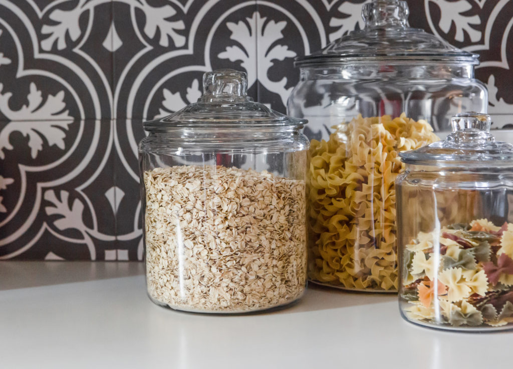 glass jars for dry ingredients oatmeal and pasta