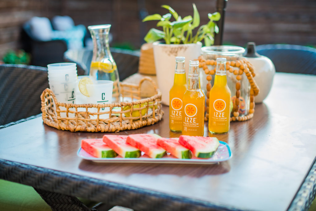 rattan tray and platter with watermelon to serve by the pool