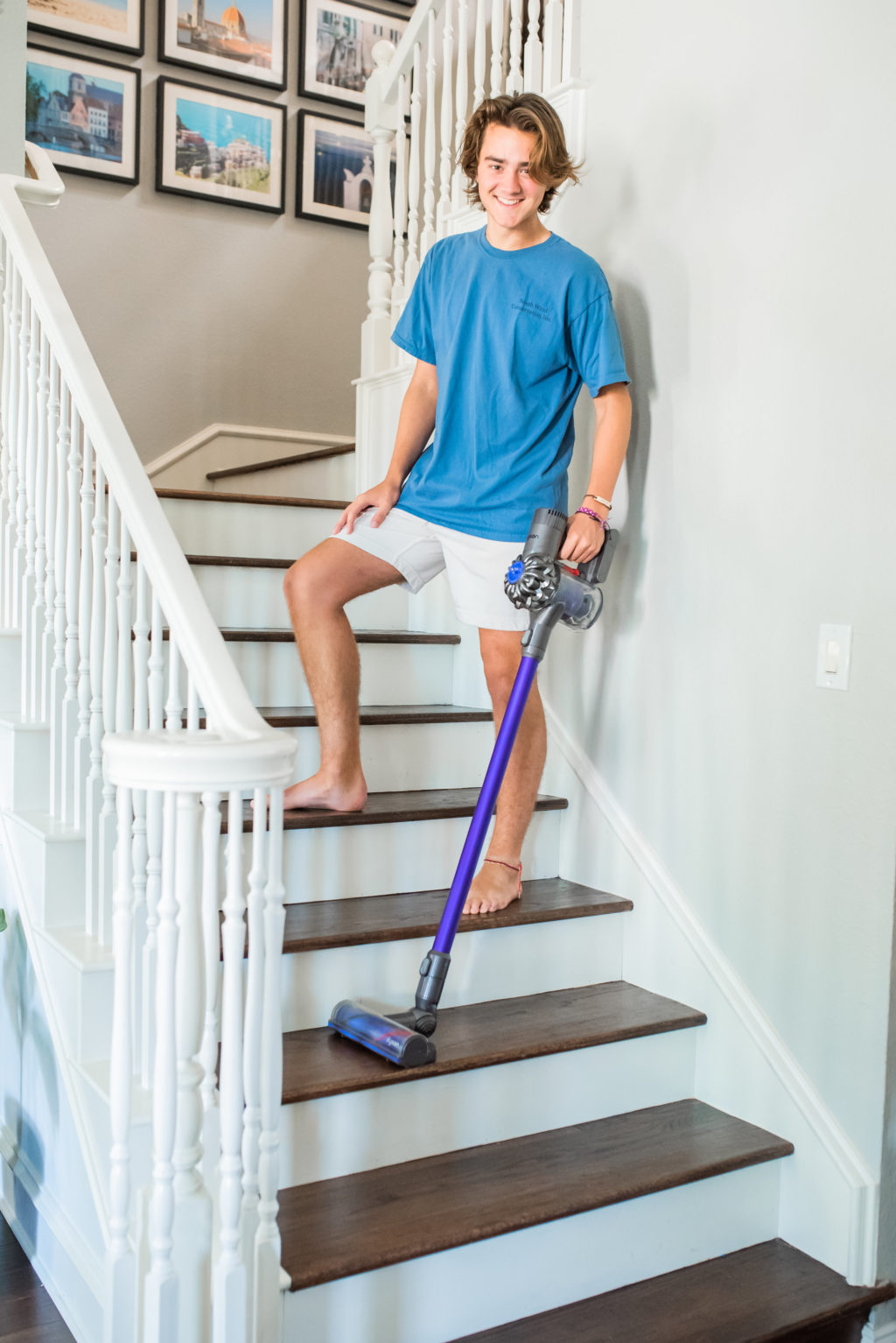 kids chores dyson stick vacuum stairs
