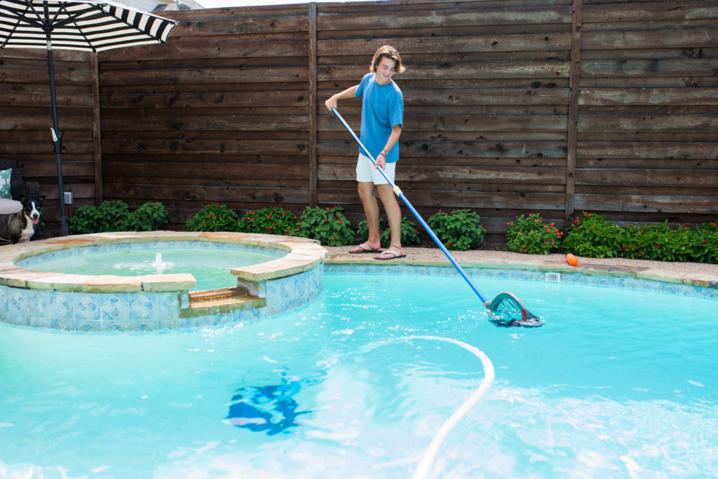 kids chores pool skim clean