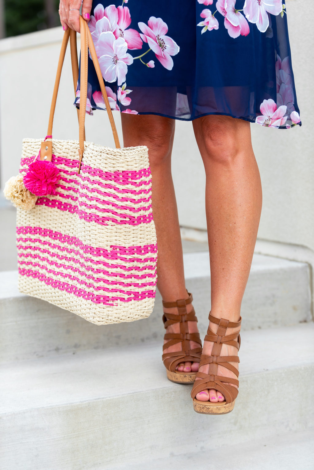 jcpenney pink straw tote