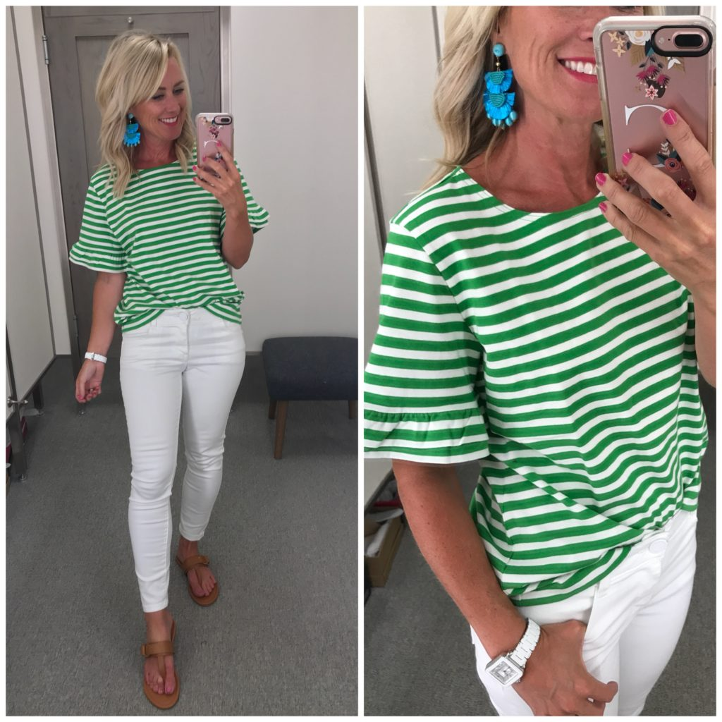 nordstrom anniversary sale outfit J. Crew ruffle sleeve stripe tee white jeans