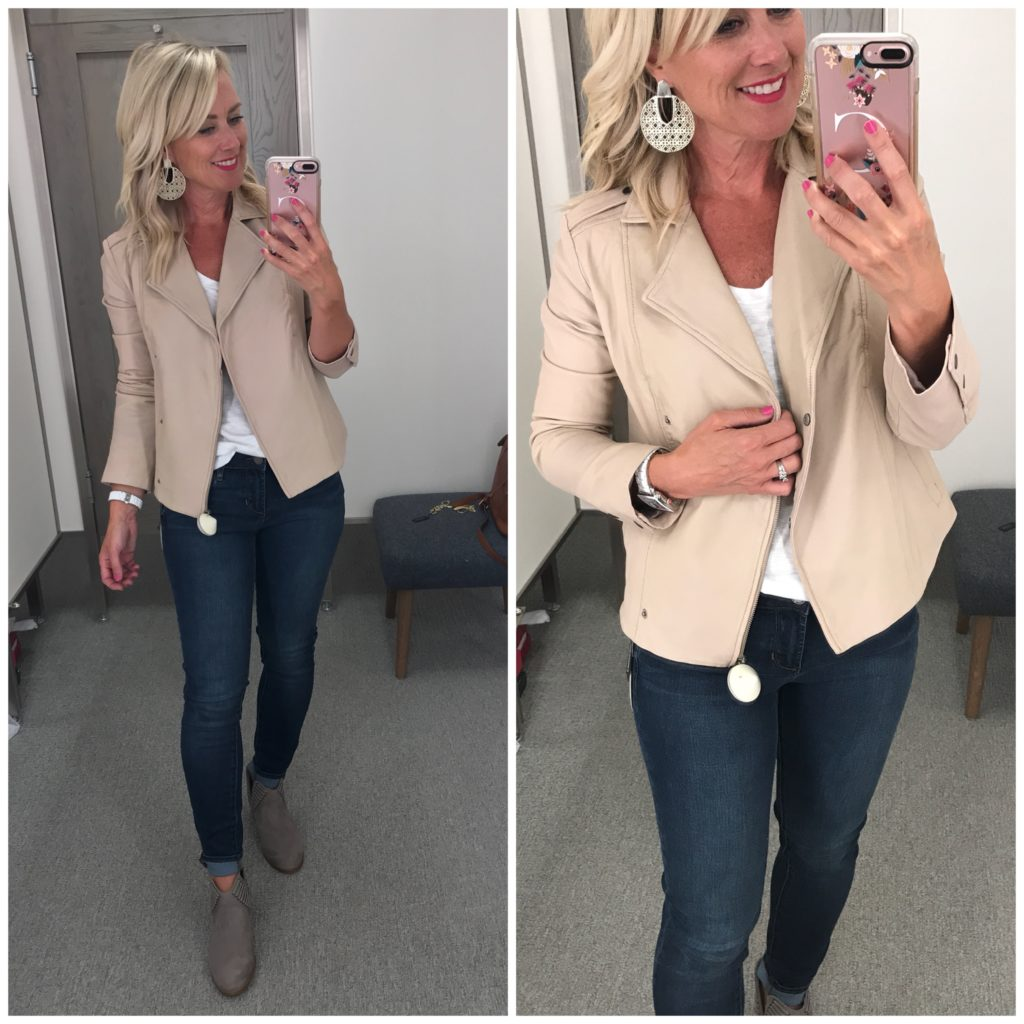 nordstrom anniversary sale outfit hinge feminine leather moto jacket eileen fisher ives booties