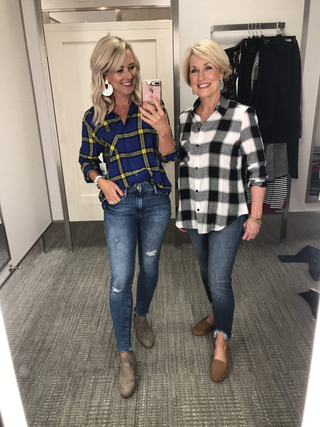 nordstrom anniversary sale outfits BP. plaid shirts blue and white / black