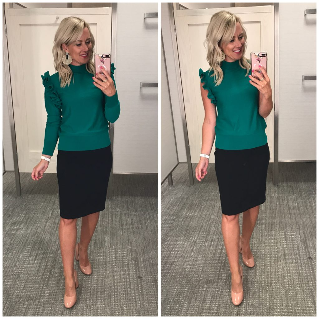nordstrom anniversary sale outfit halogen detachable sleeve sweater with black halogen pencil skirt