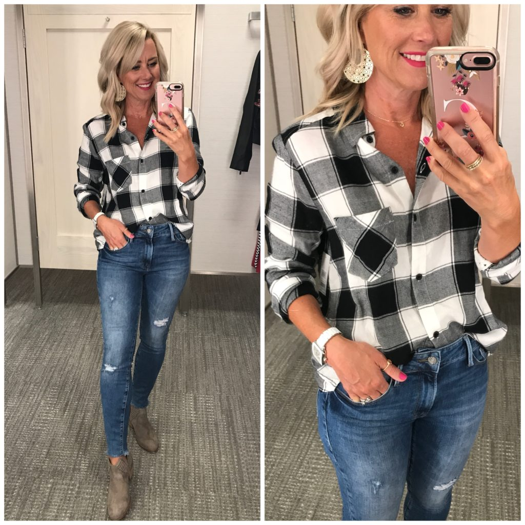 nordstrom anniversary sale outfit BP. plaid shirt kendra scott diane drop earrings