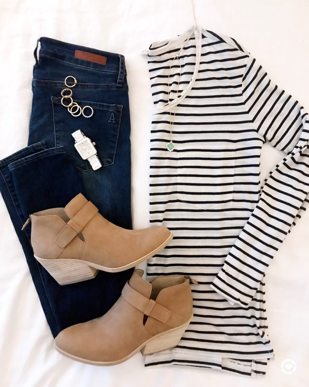 fall outfit stripes booties