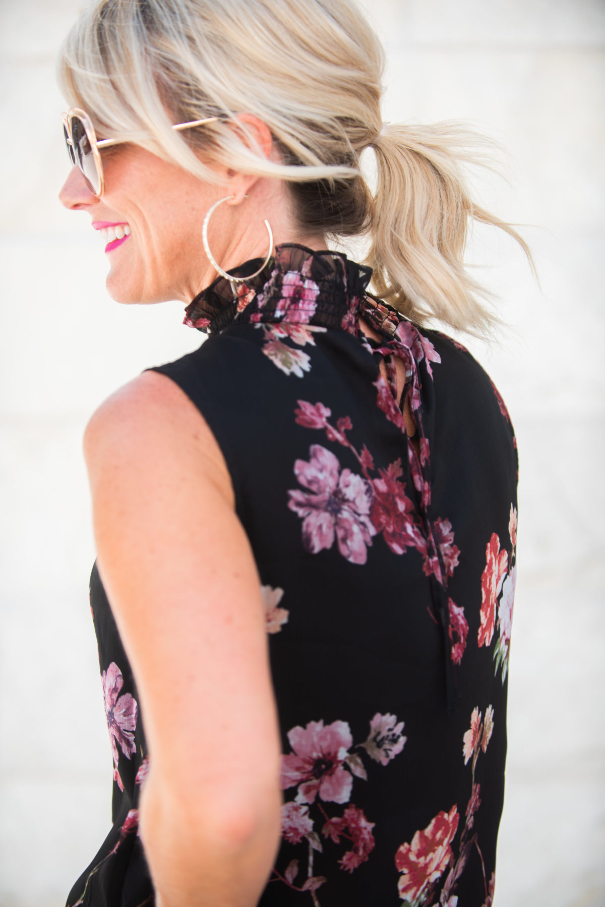 vince camuto black floral blouse work wear