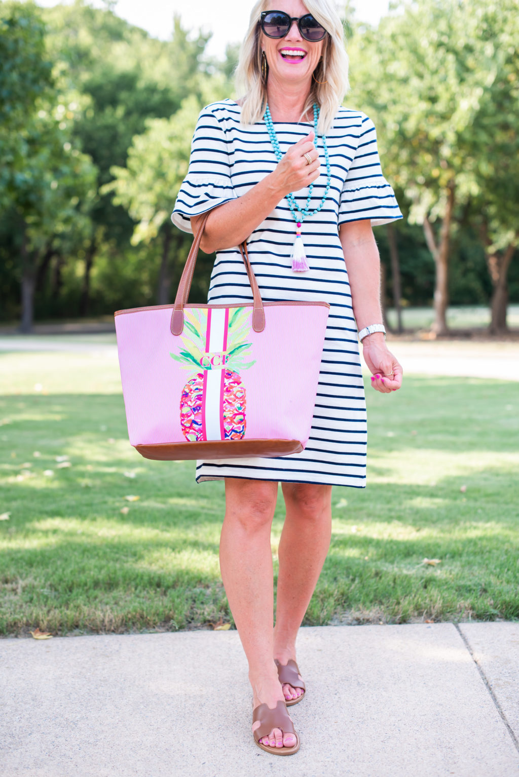 jcrew striped dress summer outfit