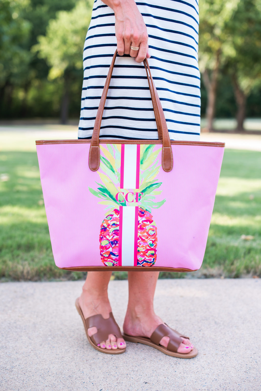 barrington pineapple monogrammed tote bag