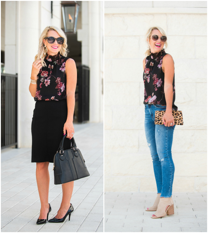 work to weekend floral blouse
